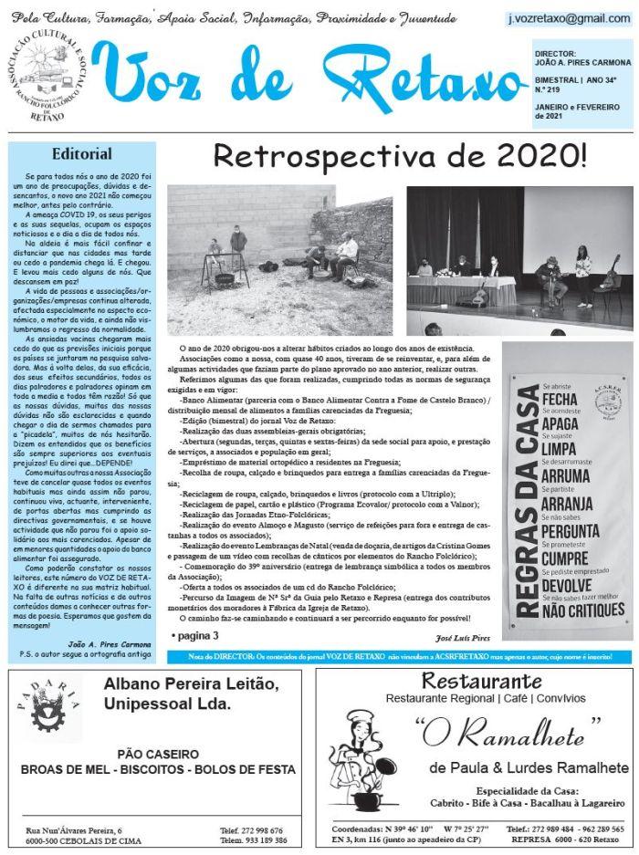 Voz de Retaxo 2019 - Janeiro e Fevereiro de 2021